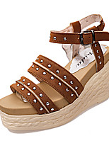 Women's Shoes PU Summer Wedges Sandals Office & Career / Dress / Casual Flat Heel Others Black / Brown