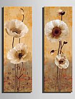 Moderno/Contemporaneo Floreale Orologio da parete,Rettangolare Tela 24 x 70cm(9inchx28inch)x2pcs/ 30 x 90cm(12inchx35inch)x2pcs Al Coperto