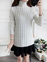 Women's Going out Vintage  ,Solid White / Black / Brown / Gray Turtleneck Long Sleeve Cotton Fall / Winter Medium