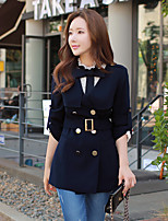 Women's Going out / Work / Holiday Vintage / Street chic / Punk & Gothic Trench Coat,Solid Shirt Collar Long Sleeve