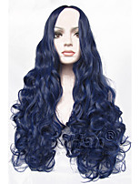 Fashion Long Curly Blue Wig 24