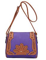 Women PU Color Stitching Diamond Flower Decoration Casual Shoulder Hollow Pillow Saddle Bags