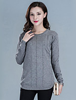 Women's Casual/Daily Street chic Regular Pullover,Solid Round Neck Long Sleeve CottonSpring /