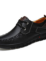 Men's Flats Fall / Winter Round Toe PU Outdoor / Casual Flat Heel Lace-up Black / Brown Others