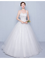 Ball Gown Wedding Dress Floor-length Spaghetti Straps Tulle / Sequined with Appliques / Beading / Sequin