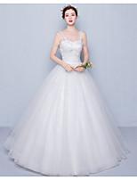 볼 드레스 웨딩 드레스 바닥 길이 스파게티 스트랩 튤 / 스팽글 와 아플리케 / 비즈 / 스팽글