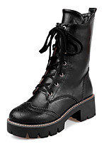 Women's Heels Spring / Fall Combat Boots / Round Toe Dress Chunky Heel Lace-up Black / Yellow / Gray Hiking / Others