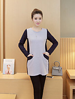 Maternity Casual/Daily Simple Loose Dress,Color Block Round Neck Above Knee Long Sleeve Gray Cotton Fall