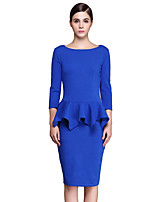 Women's Plus Size / Casual/Daily / Work Street chic Bodycon Dress,Solid Round Neck Knee-length ¾ Sleeve