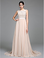 Lanting Bride A-line Wedding Dress Court Train Scoop Chiffon with Appliques
