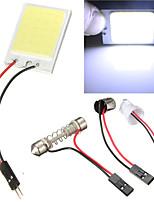2pcs Car COB 24 Chip LED Car Interior Light T10 Festoon COB 12V Panel Light Car Parking Light (DC12V)
