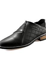 Men's Leatherette Office & Career Flat Heel Plaid Black / Brown / Burgundy Walking EU39-43