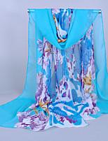 Women's Chiffon Flowers Print Scarf,Blue/Orange/Navy Blue/Pink