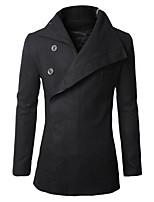 Men's Solid Casual / Work Coat,Cotton Long Sleeve-Black / Brown / Gray