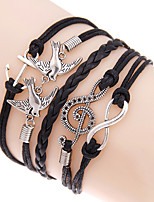 Retro Style Multilayer Blue Anchor Love Birds Weave Wrap Bracelet