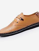 Heren Platte schoenen Lente / Herfst Comfortabel Nappaleer / Leer Buiten / Informeel Platte hak Veters Bruin / Geel Wandelen