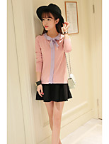 Women's Casual/Daily Simple Regular Pullover,Patchwork Pink Crew Neck Long Sleeve Rayon / Polyester Spring / Fall Thin