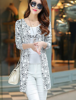 Women's Casual/Daily Simple Long Cardigan,Print Black V Neck Long Sleeve Polyester Fall Thin