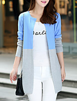 Women's Casual/Daily Street chic Long Cardigan,Color Block Blue Round Neck Long Sleeve Cotton Fall / Winter Medium