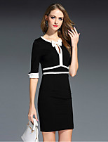 MISS FRENCH  Going out / Daily / Sexy / Street chic Sheath Dress,Solid Round Neck Knee-length ½ Length SleeveWhite /