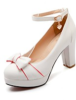 Women's Shoes PU Summer / Round Toe Heels Office & Career / Casual Chunky Heel Buckle Blue / Pink / White / Beige