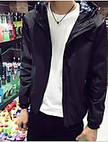 Мужской Хлопок Куртка На каждый день,Однотонный,Длинный рукав,Черный / Синий / Серый