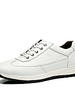 Men's Sneakers Fall Comfort Cowhide Office & Career / Casual Flat Heel Black / Blue / White Fitness Training