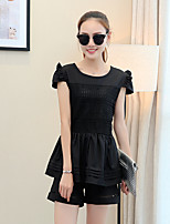 Women's Casual/Daily Cute Summer Set,Solid Round Neck Short Sleeve Pink / Black Cotton / Polyester Thin