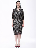 Women's Plus Size Vintage Lace Dress,Solid V Neck Knee-length ½ Length Sleeve White / Black Cotton / Polyester Fall