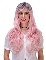 rosa de la pendiente largo y rizado lolita wig.wig pelo, peluca de Halloween, peluca de color, peluca de la manera, peluca natural, peluca