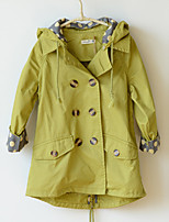 Girl's Cotton Spring/Autumn Solid Color Fashion Hooded Long Trench Coat
