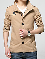 Men's Long Sleeve Casual Jacket,Cotton Solid Yellow