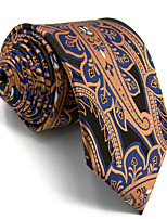 New Men's Necktie Tie 100% Silk For Men Blue Orange Paisley Wedding Business Fashion Extra Long