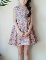 Girl's Casual/Daily Floral DressCotton Summer Red
