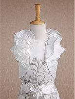 Kids' Wraps Shrugs Short Sleeve Taffeta Ivory Wedding / Party/Evening / Casual Scoop Flower(s) / Wave-like Open Front