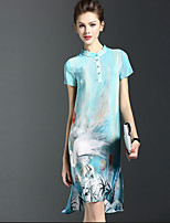 Women's Casual/Daily / Plus Size Vintage Shift Dress,Print Stand Knee-length Short Sleeve Blue Silk Summer