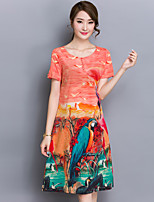 Women's Casual/Daily Simple Loose Dress,Print Round Neck Knee-length Short Sleeve Red Rayon Summer