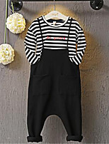 Girl's Casual/Daily Striped Clothing Set,Cotton Spring / Fall Black