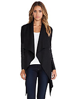 Women's Casual/Daily Simple Trench Coat,Solid Notch Lapel Long Sleeve Fall / Winter Red / Black PU / Others Medium