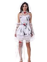 Costumes Ghost / Zombie / Vampires Halloween / Christmas / Carnival White Vintage Organza Dress / Headwear XXL
