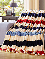 Striped Fleece fabric blanket summer comforter Air conditioning throw winter soft bedsheet for single or double bed