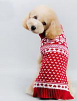 Katzen / Hunde Kostüme / Mäntel / Pullover Rot Winter Weihnachten / Schneeflocke / HalloweenCosplay / Danksagungen / Weihnachten / Urlaub