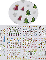 11 Designs Nail Art 3D Emulational Christmas Stickers Colorful Christmas Image Nail Decoration E023-033