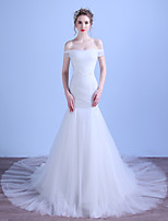 Trumpet / Mermaid Wedding Dress Court Train Off-the-shoulder Tulle with Appliques / Beading