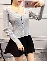 Women's Going out Sexy / Cute Short Cardigan,Solid  Cotton / Polyester Spring / Fall Medium