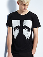 Men's Print Casual T-ShirtCotton Short Sleeve-Black
