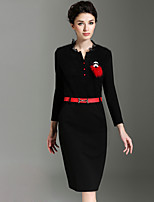 BURDULLY Women's Round Neck Long Sleeve Knee-length Dress-7286
