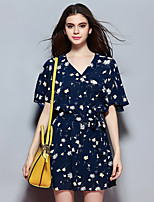 Women's Going out Street chic Loose Dress,Print V Neck Knee-length Short Sleeve Blue Polyester Summer