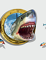 3D Exaggerated Ferocious Shark Fish 3D Wall Stickers DIY Bathroom Living Room Wall Decals