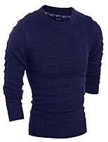 Мужской Однотонный Пуловер На каждый день,Шерсть,Длинный рукав,Синий / Красный